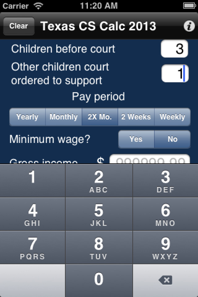 Input Texas Child Support Calculator